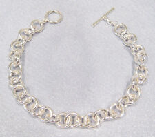 """Sterling Silver Heavy Rolo Chain Toggle Bracelet 22.9 grams Size 8.5"""" NEW"""