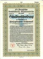 RARE ORIGINAL 1940 HIGH DENOMINATION NAZI BOND (50,000 MARKS!!) EAGLE & SWASTIKA