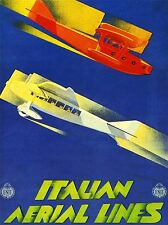 ART PRINT POSTER TRAVEL RETRO AIRPLANE ITALY SERVICE WATER PLANE NOFL1361