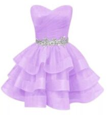 Women Junior Strapless Rhinestones Sexy Lilac Homecoming Party Prom Dress Sz M