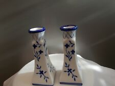 Blue And White Pattern Ceramic Glazed Candle Holders