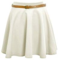 NEW Ladies Skirts Womens Belted Flared Plain Mini Skater Skirt Sizes UK 8 -22