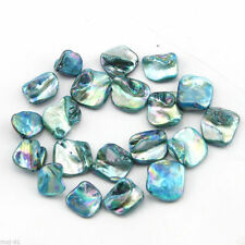 14x18mm Natural Sea Blue Mop Mother of Shell Freeform Loose Beads Strand 15''