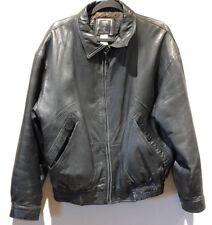 Synergy Studio, Men's Black Leather Bomber Jacket, Insulated Lining, Sz Med