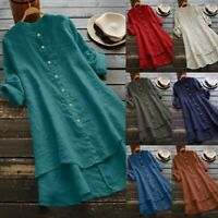 Women Cotton Linen Solid Button Tops Long Sleeve Long Blouse Casual Loose Shirt