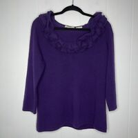 Neiman Marcus Women's 100% Cashmere Ruffle Scoop Neck Sweater Purple Size XL