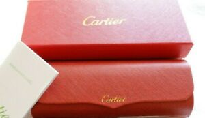 CARTIER Eye/Sunglasses Hard Case BOX/CASE Red Leather FRANCE Magnetic Closure