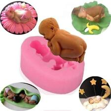 New 3D Sleeping Baby Bear Silicone Fondant Cake Mould Chocolate Jelly Boy Mold T