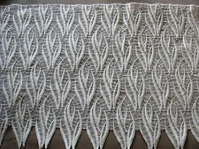 7 YDS UNUSUAL HEAVY IVORY WAVE RAYON EMBRDROIDERED ON NYLON LACE