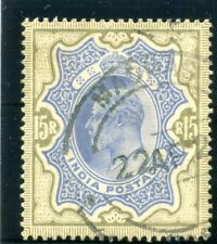 India 1909 KEVII 15r blue & olive-brown very fine used. SG 146. Sc 75.