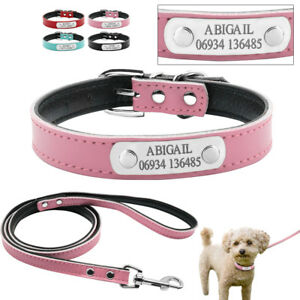 Leather Personalized Dog Collars and Lead Custom Pet Name ID Tag Engraved Free