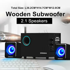 EARISE Wooden 2.1 Stereo Computer Speaker Phone 3D Surround Sound Bass Subwoofer