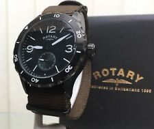 NEW Rotary Mens Watch Military Style RRP £180 Canvas Strap Boxed (r113