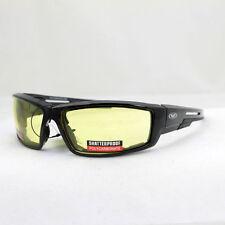 Biker Chopper Motorrad Sport Brille Sonnenbrille Splitterfrei Gelbe Gläser NEU