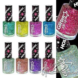 Holographic GLITTER Nail Polish Varnish Clear Top Coat Iridescent Party nails