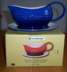 Le Creuset Cobalt Blue 16 oz Gravy Boat with Tray New in Box