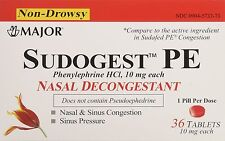 Sudogest PE Generic for Sudafed PE Nasal Decongestant  HCl 10mg 36 Counts