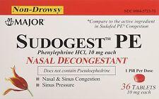 Sudogest PE Generic for Sudafed PE Nasal Decongestant  HCl 10mg 36 Counts