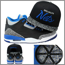 Mitchell & Ness Brooklyn Nets CUSTOM Snapback Hat For Jordan 3 Retro Sport Blue