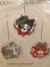 "Vtg 1985 New 3 Cat Kitten Tabby Kitty 4"" Xmas Ornaments Counted Cross Stitch Kit"