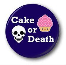CAKE OR DEATH  - 1 inch / 25mm Button Badge  - Novelty Cute Eddie Izzard