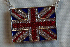 NECKLACE - Biker - Sparkle British Flag with silver tone Chain- NEW!