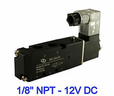 """Pneumatic 4 Way Electric Directional Control Air Solenoid Valve 12V DC 1/8"""" Inch"""