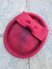 Vintage Authentic 1940s 60s Style Deep Red 100% Wool Pill Box Hat With Bow