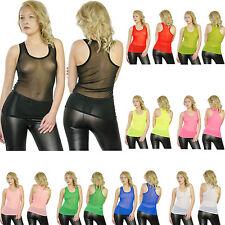 Damen Top tank top Shirt transparent durchsichtig Hemd neon Size 36-38 11 Farben