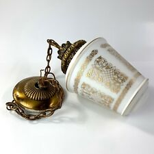 MCM Art deco Hanging Lamp Light Gold Art Deco Bronze Retro vintage gold white