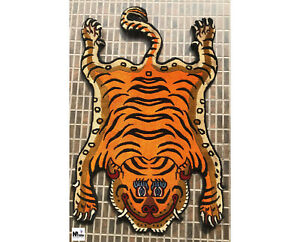 Orange Tibetan Tiger Rug Carpet - Handknotted handmade Nepal - 2x3ft