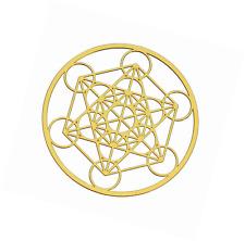 Metatron's Cube 18K Gold Plated Healing Grid