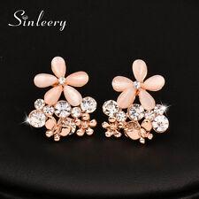 Charm Women Opal Flowers Stud Earrings 18K Rose Gold Wedding Brand Jewelry 2017