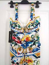 Dolce & Gabbana AUTH NWT Maiolica Tile-Print Ruched Silk Charmeuse Tank Dress 46