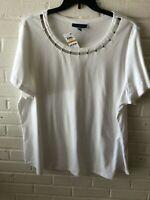 New Karen Scott Woman's Cutout Star Embellished Neckline Knit Top  White   T6