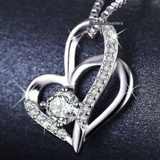 BLACK FRIDAY DEALS Silver Crystal Heart Necklace Xmas Gift For Her Women Pendant