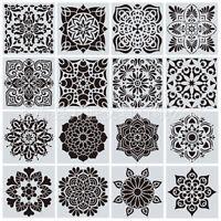 16 PCS Mandala Dotting Stencils Template for DIY Wall Painting Rock Scrapbooking