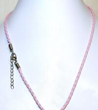 "NC126e Pink Braided Leather Silver Lobster Clasp 18"" Necklace Cord For Pendants"