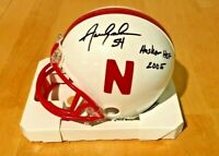 NEBRASKA CORNHUSKER FOOTBALL AARON GRAHAM #54 SIGNED MINI HELMET HUSKER HOF 2005