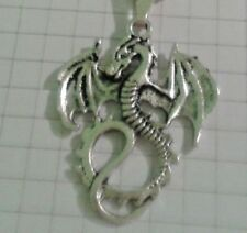 """TIBETAN SILVER""""SOLID DRAGON""""PENDANT(S/S) 18/20""""VELVET or LEATHER NECKLACE+POUCH"""