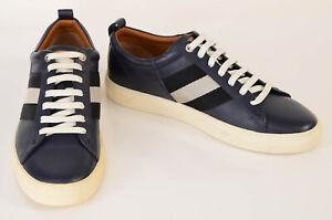 Bally navy blue 9 leather stripe logo low top trainer sneaker shoe NEW $450