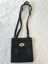 Fossil Black Leather Mini Crossbody Bag Purse