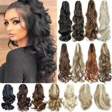 Real Natural Thick As Human Claw Clip In Ponytail Hair Extensions Long Curly AU