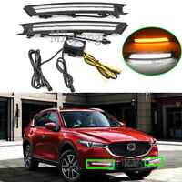 For Mazda CX-5 CX5 2017-2020 LED Daytime Running Light Fog Lamp Turn Signal DRL
