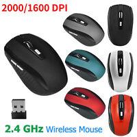 2.4G Wireless 1600/2000DPI Cordless Optical Mouse Mice USB fr PC Laptop Notebook