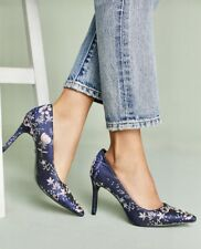 Charles David blue pink Satin Floral Pump Heel Stiletto Point Toe 10 NIB