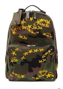 NWT $1,950 Valentino Garavani Camo Givenchy Star Canvas Leather Backpack
