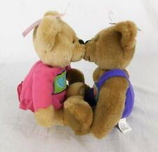 "Hallmark Love & Kiss Teddy Bears Magnetic Matching Pair 10"" Plush Stuffed Animal"