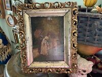 Antique Victorian Ladies Strolling Oil on Wood Panel in Ornate Gold Gilt Frame