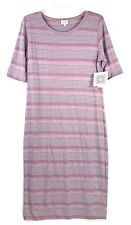 LULAROE Julia Dress XL Blue Pink Heathered Short Sleeve Stripes Stretch NEW